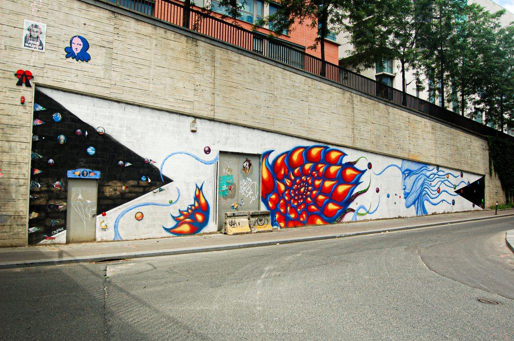 Longue fresque du collectif Mission pas Impossible représentant des fleurs de lotus et un visage de profil