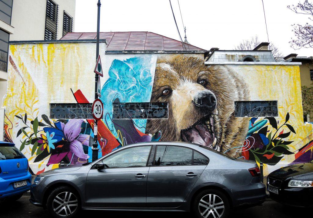 Fresque de Kraser représentant une tête d'ours brun la gueule ouverte, à moité réaliste, à moitié atmosphérique.