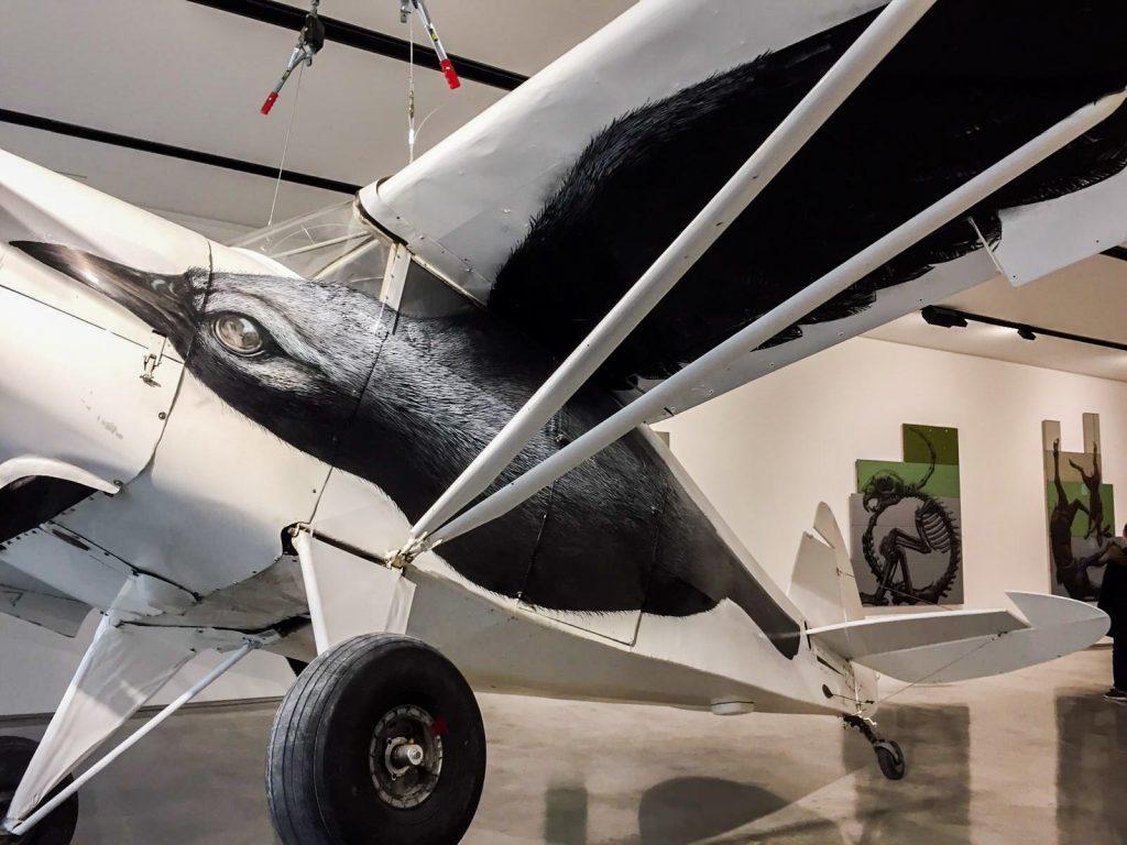 Exposition de ROA à itinerrance : Corbeau peint sur un avion de tourisme. Oeuvre datant de 2020